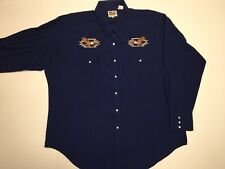 Ely Cattleman Bald Eagle Western Embroidered Navy Pearl Snap L/S Shirt 2XL