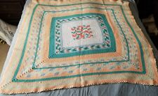 "Handmade Crochet Afghan Multi Colored Lap Throw 51""x 53"""