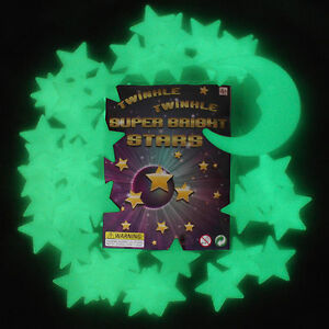 50 Glow In The Dark Stars and Moon Plastic Stickers 4 Ceilings & Walls Bedroom