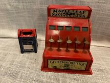 Vtg Metal Post Office Mailbox Cash Register Maple Leaf Piggy Bank