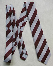 BNWOT NEW BOYS TIE MOD CASUAL AGE 6-12 CLUB SCHOOL STRIPED BURGUNDY SILVER GREY