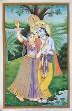 Lord Krishna Radha Painting Handmade Watercolor Hindu Religious God Goddess Art