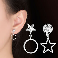 and circle dangle earrings Silver tone mismatched star