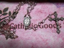 Pewter (6 mm Clear faceted crystal glass bead) - Mary centerpiece -  Rosary