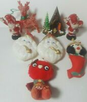 Lot of 8 Vintage Figures Ornaments Christmas Holiday Cloth Plastic Santa Claus