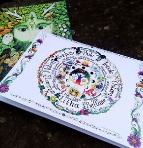 Two Book Of Shadows Green Man and Wheel notebook Pagan Medieval Wicca journal