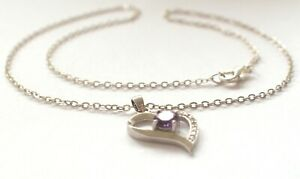 Amethyst Love Heart Pendant 925 Solid Sterling Silver Chain Necklace Vintage 4g