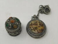 Estate Sale Trinket Box And Pocket Watch With Hunter And Dogs Fun Collectibles