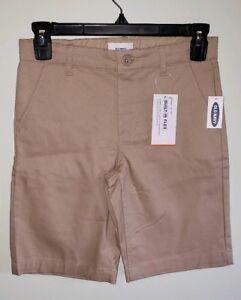 Old Navy Boys Uniform Dress Shorts 8 10 12 14 Khaki 'Shore Enough' Flat Front