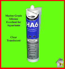 Silicone Sealant HA6 Marine Grade SAFE 4 FISH in Clear Aquarium Aquaseal Bond It