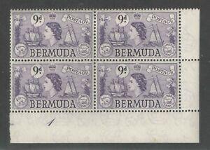 Bermuda 1953-8 9d QEII Plate 1 Block of 4 VF/XF UMM MNH