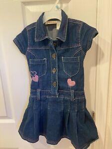 EUC Carter's Watch the Wear size 5T Blue Denim Jean Pleated Dress Fast Shipping!