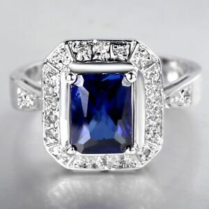 Natural 2.90CT Sapphire  14K White Gold  Ring  CM81