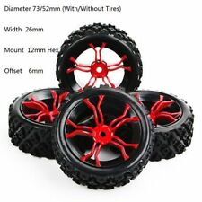 4PCS 12mm RC 1:10 Rubber Tyre Wheel Hex Rim For HSP HPI  RC Off Road Model Car