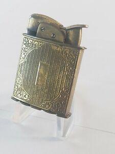 Vintage EVANS SPITFIRE Cigarette Lighter Art Deco Ornate Gold Tone Plate