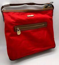 Michael Kors Bag Women's Polly Nylon Top Zip Tote Brown Leather Trim Brandy Red