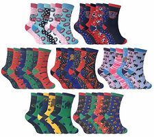 6 Pack Childrens Boys Girls Thin Patterned Funky Cartoon Cotton Rich Crew Socks