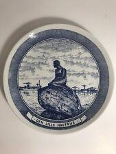 "Globe 8"" Plate Langelinie Little Mermaid Sea Denmark Blue Ceramic Dish Wall Hang"