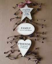 Country FAITH FAMILY FRIENDS inspirational berry swag pip berries decor Sign