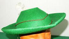 Damen Hut grüner Filzhut mit weißer Feder original alt 1930