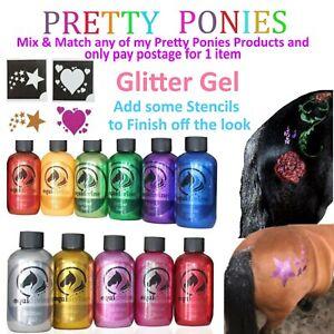 Pony Glitter Gel Sparkle Colour Stencils Paint Fancy Dress Mane Tail Fun Horses
