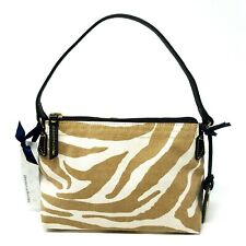 Dooney & Bourke Zebra Canvas Purse Mini Small Handbag Zipper Tan Leather Strap