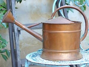 Charming Small Antique French Copper Watering Can / Rustic Garden
