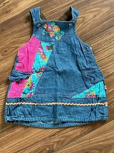 Me Too Designer Girls Denim Embroidered Pinafore Dress Age 18-24 Months