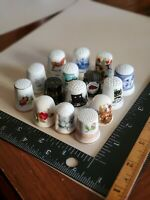 Vintage Lot of 15 Thimbles Porcelain Floral & Midwest State Souvenir Collection