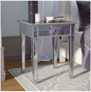 Southern Enterprises Kylie Side Accent Bedside Table Storage, Mirrored Silver