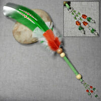 Dot Painted Green Turkey Feather Sacred Sage Smudge Fan w/ Wood & Leather Trim