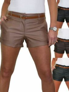 Womens Stretch Leather Look Hotpant Shorts With Belt Summer 8-16