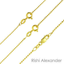 14K Gold over 925 Sterling Silver Diamond Cut Ball Bead Chain Necklace All Sizes