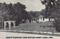 Postcard Rice's Pleasant View Motor Court in Paoli, Indiana~124761