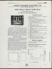 Rare Original 1933 Ward Leonard Dealer Sheet Page: Time Delay Relay Type TD 2