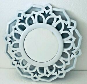 Ornate Small Resin/Plastic Frame White Wall Decor Accent Hanging Mirror 10""