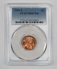 1945 S LINCOLN WHEAT CENT PENNY 1C PCGS MS 67 RB RED BROWN MINT UNC (891)