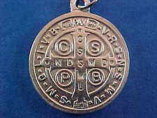 "Bright Silver St BENEDICT Medal Protection Excorism's Saint Medal 1"" across"