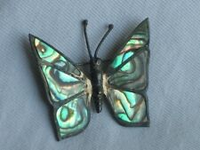 Vintage Sterling Silver Mexico Abalone Butterfly Brooch Pin Jewelry (id496)