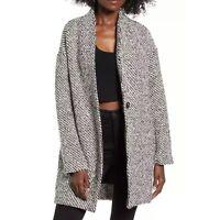 New BLANKNYC Say Anything Tweed Coat Womens Size XS Black White Wool Blend