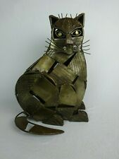 Retro Steel Cat Sculpture Brutalist Mid Century Modern Style ~ Large ~