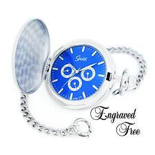 Personalized Pocket Watch - Speidel Quartz Silver Finish Engraved Free-Warranty