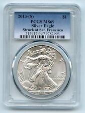 2013 (S) $1 American Silver Eagle Dollar 1oz PCGS MS69