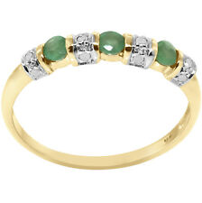 Natural Emerald & 12 Diamond 9ct 9k 375 Solid Gold Ring - Bravo Jewellery