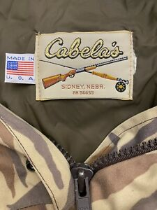VNTG Cabela's Gore-Tex Duck's Unlimited USA MADE XL Camo Hooded Lined Coat