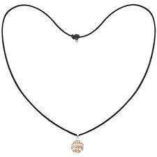 Tresor Paris Gold & White Spiral 14mm Crystal Pendant, Black Cord Necklace