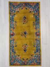 Tappeto 199X100 Cinese antico Pechino senape ocra azzurro SCONTO carpet fiorito