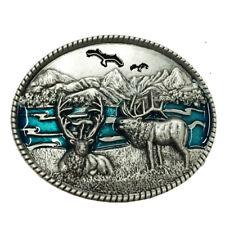 Fashion Men Retro Silver Western Cowboy Reindeer Oval Belt Buckle