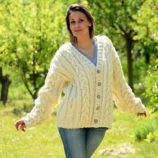 Designer Hand Knitted Cardigan White Merino Wool Jacket Sweater EXTRAVAGANTZA