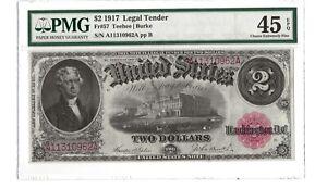1917 $2 Legal Tender Large Size Note - PMG45 Choice EF - FR#57 - Teehee | Burke